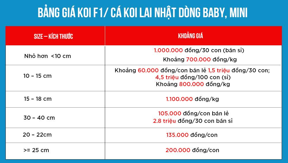 Bang gia Koi F1 ca koi lai Nhat dong baby mini