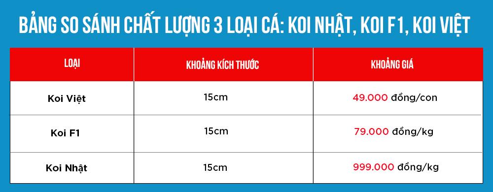 Bang so sanh the hien su chenh lech chat luong giua 3 loai ca koi Nhat Koi F1 Koi Viet